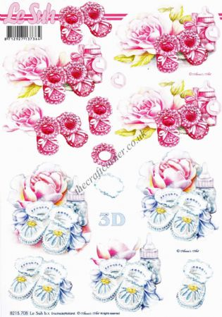 Baby Booties 3d Decoupage Craft Sheet